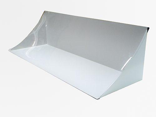 紙製L字カウンター什器 透明カバー付